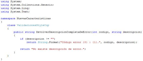 Código no analizado con StyleCop