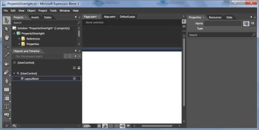 Nuestra aplicación abierta con Expression Blend 3