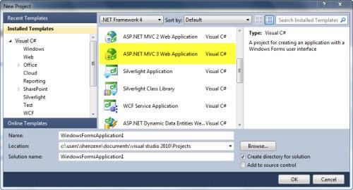Proyecto del tipo Aplicación Web ASP.NET MVC 3.0