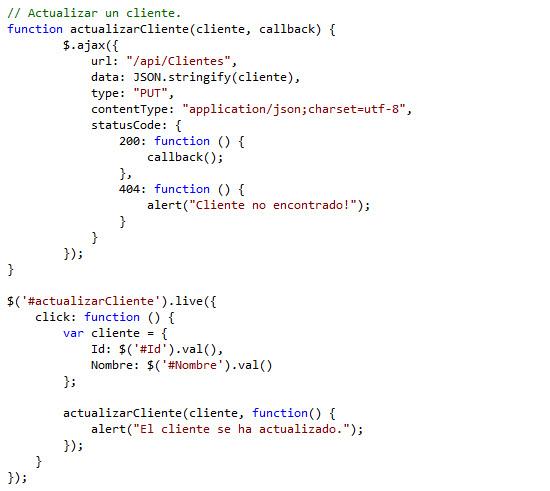 Actualizamos el script Clientes.js