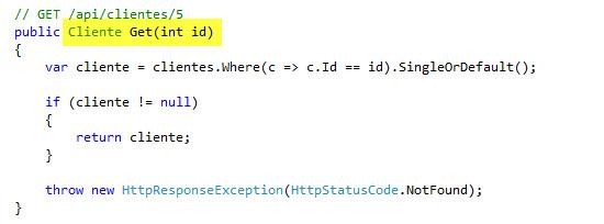 Definiendo el método de acción Get(int id)