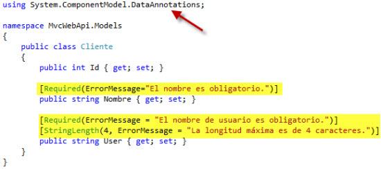 Aplicando los atributos de validación al modelo