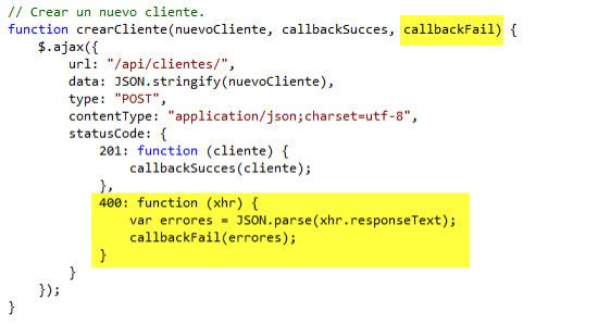 Modificando la función crearCliente() del script Clientes.js