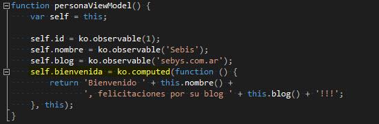 JS - Enlazando por medio de un observable calculado.