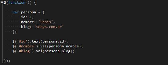 "JS - ""Enlazando"" con jQuery objetos JS con elementos HTML."