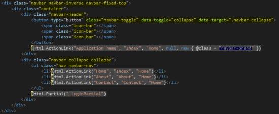 El código de las vistas basado en Boostrapt