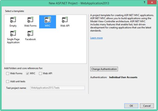Seleccionando las tecnologías ASP.NET con las cuales trabajar.