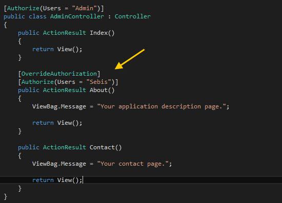 Implementando el atributo OverrideAuthorization