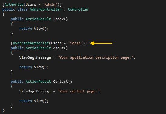 Aplicando el filtro de anulación OverrideAuthorize.