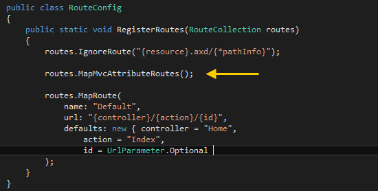 Habilitando Attribute Routing