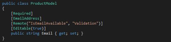 Agregando el atributo Remote a nuestro modelo.