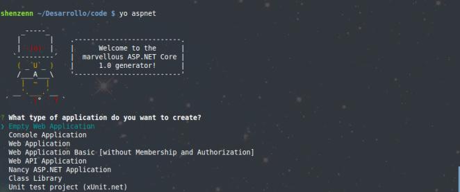 Creando proyecto ASP.NET Core con Yeoman