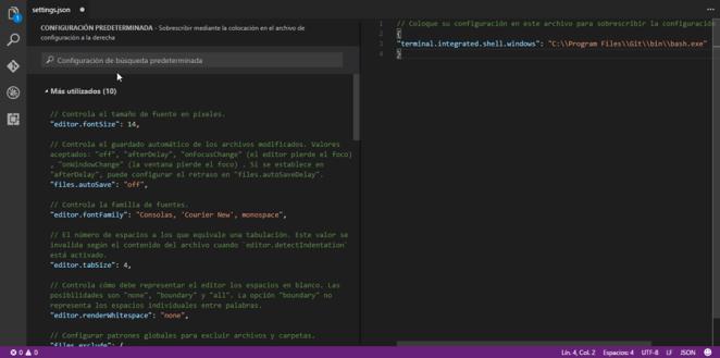 Configurando la terminal integrada