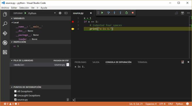 Ejecutando y depurando código Python con Visual Studio Code